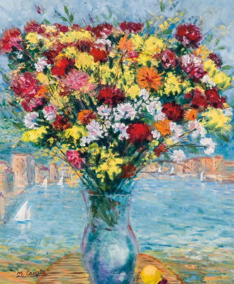 MICHELE CASCELLA, American/Italian (1892-1989), Flowers in Vase, oil on canvas, signed lower left., 30 x 25 inches