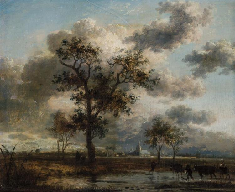 JEAN-LOUIS DEMARNE, French (c.1752-1829), Paysage (Landscape), oil on board, unsigned., 5 1/4 x 6 3/8 inches