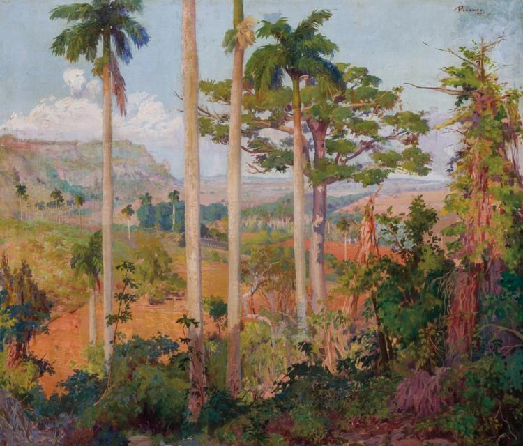 UNIVERSO PICAZO CARRERA, Cuban (1910-1968), Cuban Landscape with Palm Trees, oil on canvas, signed and dated
