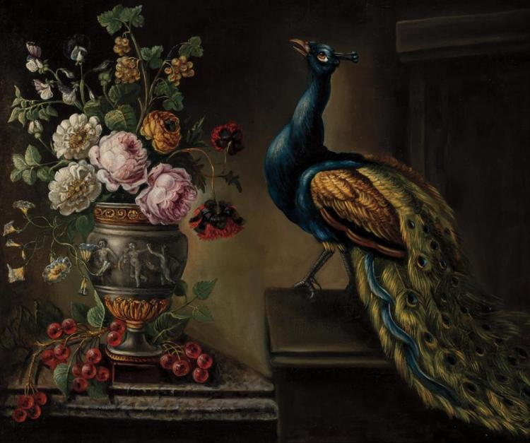 SCHOOL OF ANNE VALLAYER-COSTER, French (1774-1818), Vase of Flowers with Fruit and Peacock, oil on canvas, unsigned., 26 1/2 x 32 in...