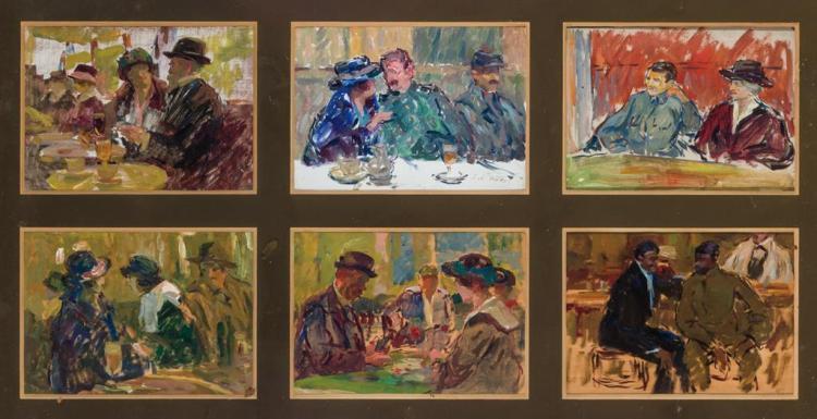 ELIE ANATOLE PAVIL, Ukrainian (1873-1948), Parlor Scenes (Six framed together), oil on panel, upper center panel signed lower right....