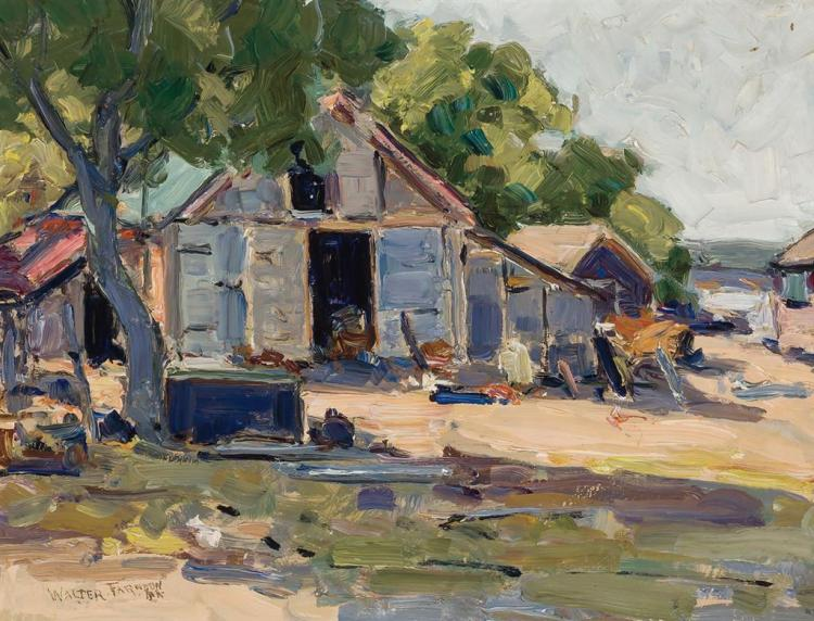 WALTER FARNDON, American (1876 - 1964), Cottage by the Shore, oil on board, signed lower left., 14 x 18 inches