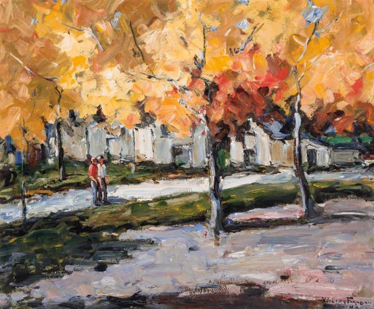WALTER FARNDON, American (1876-1964), Autumn Street Scene, oil on board, signed lower right., 30 x 36 inches