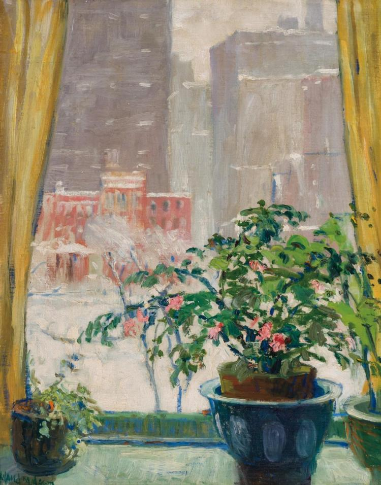 MAUD MARY MASON, American (1867-1956), View of Gramercy Park (From 36 Gramercy Park East), oil on canvasboard, signed lower left., 1...