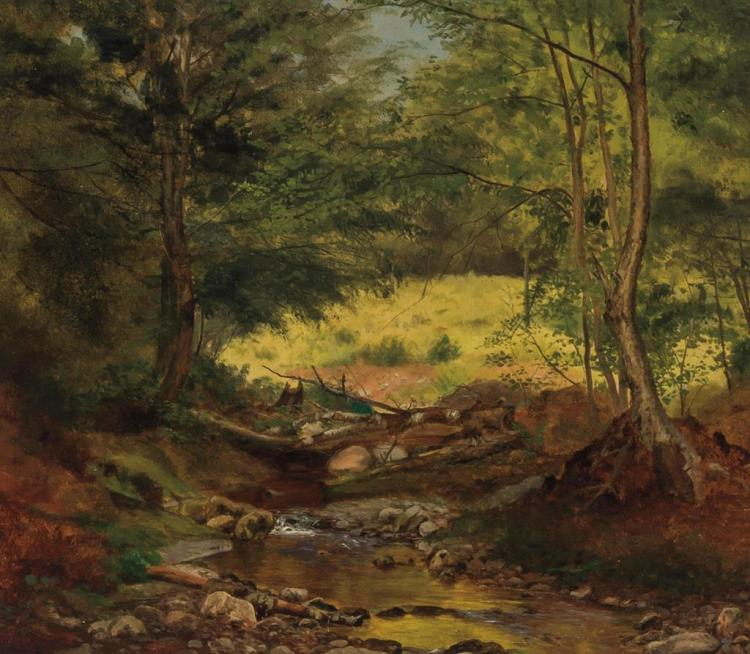 JOHN LEE FITCH, American (1836-1895), Landscape with Trees and Stream, oil on canvas, signed lower left., 14 1/2 x 16 5/8 inches