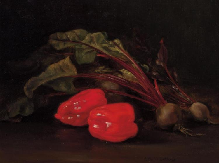 IDA PULIS LATHROP, American (1859-1937), Still Life with Beets and Red Peppers, oil on canvas, signed lower right., 20 x 15 inches