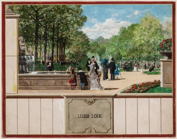 LUIGI LOIR, French (1845-1916), Dans Le Parc, gouache on paper, signed lower center., 8 x 10 inches