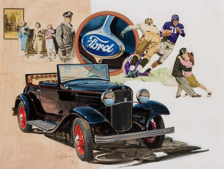 THOMAS M. HOYNE, American (1924-1989), (Group of 25 Paintings) Original Illustrations of Vintage Automobiles, mixed media, signed.,...