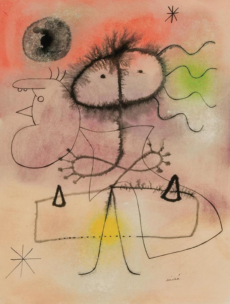 JOAN MIRO, Spanish (1893-1983), Femme, Oiseau, Etoiles (Woman, Bird, Stars), 1942, pencil, pastel, India ink and watercolor on paper...