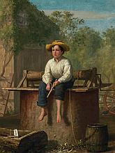 ENOCH WOOD PERRY, American (1831-1915), Farm Scene, Boy by a Well, oil on canvas, signed and dated '64 lower left., 14 3/8 x 11 1/8