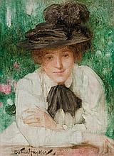 ARTHUR HACKER, British (1858-1919), Portrait of an Edwardian Lady, oil on panel, signed lower left., 14 x 10 1/4