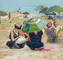 IDA WELLS STROUD, American (1869-1944), Umbrellas on the Beach, watercolor and gouache on wove paper, signed lower center., 8 3/8 x...
