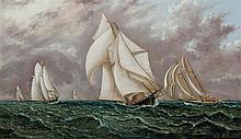 JAMES EDWARD BUTTERSWORTH, American/British (1817-1894), The Yacht Race, oil on canvas, signed lower right., 11 1/2 x 20