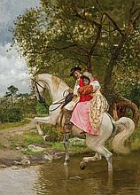 CHARLES XAVIER HARRIS, American (1856-1936), Man and Woman on Horseback, oil on canvas, signed lower right., 22 x 16