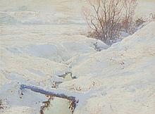 WALTER LAUNT PALMER, American (1854-1932), Snowy River Bed in Winter, mixed media on paper, signed lower left., 17 1/2 x 23 1/2 inch...