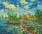 DAVID BURLIUK, Russian/American (1882-1967), Fishermen and Boats, oil on canvas, signed lower left., 16 x 22