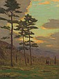 CHARLES WARREN EATON, American (1857-1937), Sunlight Through the Trees, oil on canvas, signed lower left., 16 x 12