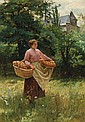 LOUIS EMILE ADAN, French (1839-1937), Girl with Loaves of Bread, oil on canvas, signed lower right., 36 x 25 1/2