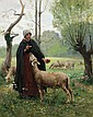 GEORGES FRANCOIS LAUGEE, French (1853-1937), Shepardess with Lamb, oil on canvas, signed lower left., 31 1/2 x 25