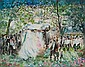 HUVY, Israeli (b. 1927), The Wedding, watercolor, signed lower right., 13 1/4 x 16 1/2 (sight), Elisha (Huvy} Ahuva, Click for value