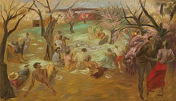 """PEPPINO GINO MANGRAVITE, American (1896-1978), """"Reunion in the Apple Orchard"""", oil on canvas, signed lower right, signed, dated 1937..."""