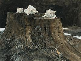 DAVID H. LIGARE, American (b. 1945), (3 Works) Conch Shells Path to the Shore Driftwood, all watercolor, one signed lower right., 17...