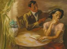"""PEPPINO MANGRAVITE, American (1896-1978), Young Couple Reading, oil on canvas, signed lower left """"Mangravite,"""" signed and dated on t..."""