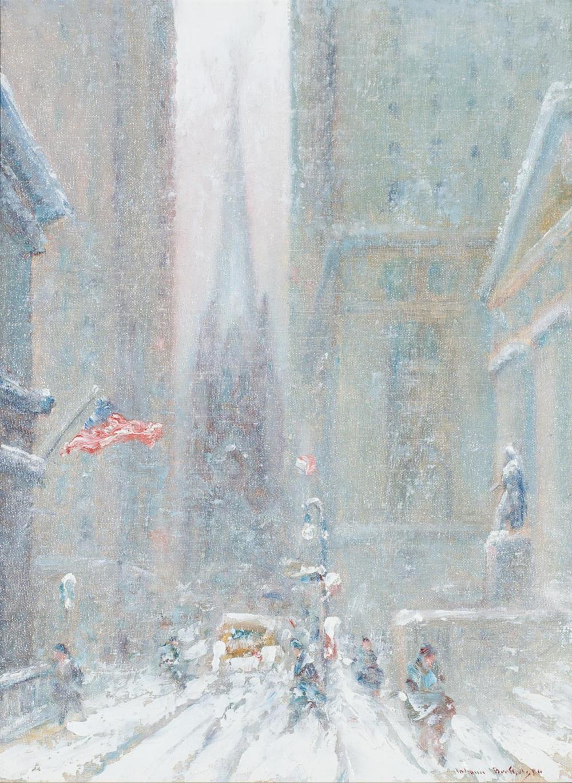 """JOHANN BERTHELSEN, American (1883-1972), Wall Street in Winter, oil on canvasboard, signed lower right """"Johann Berthelsen"""", 15 3/4 x..."""