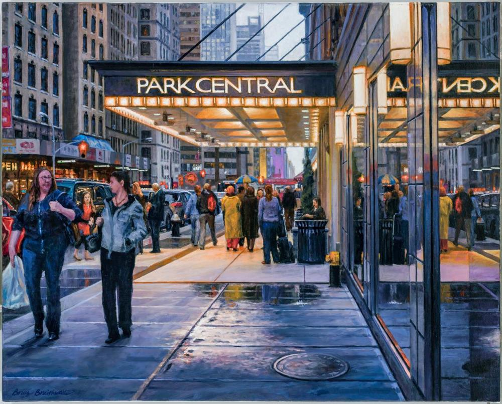 "BRUCE BRAITHWAITE, American (b. 1950), ""Park Central"", oil on canvas, signed lower left ""Bruce Braithwaite,"" signed, titled,numbered..."