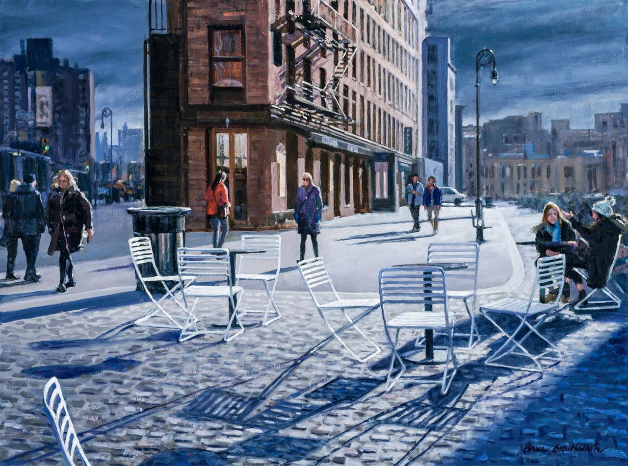 """BRUCE BRAITHWAITE, American (b. 1950), """"White Chairs of Gansevoort"""", oil on canvas, signed lower right """"Bruce Braithwaite,"""" signed,..."""