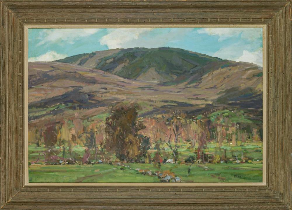 """JAY HALL CONNAWAY, American (1893-1970), """"Green Mts in Early Spring"""", oil on masonite, signed lower right """"Connaway,"""" signed, titled..."""