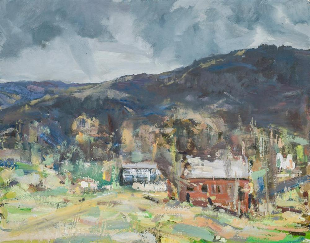 """JAY HALL CONNAWAY, American (1893-1970), Storm Over Pawlet, Vermont, oil on board, signed and dated lower right """"Connaway 59,"""" signe..."""