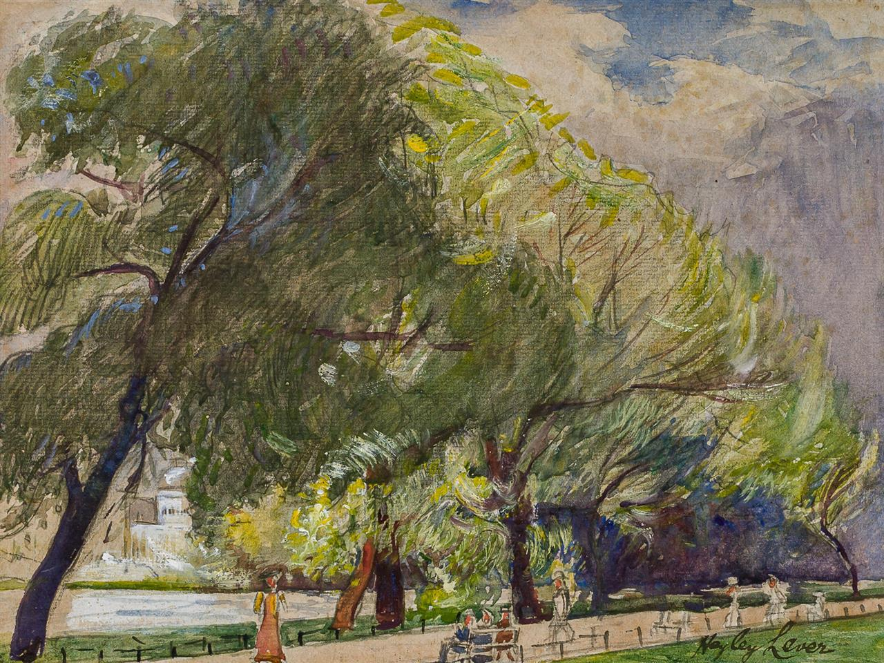"""RICHARD HAYLEY LEVER, American (1876-1958), Park Beside the Hudson, gouache on paper, signed lower right """"Hayley Lever"""", 9 x 12 inch..."""