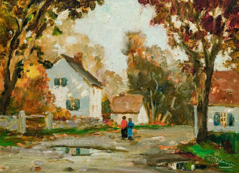 "ANTHONY THIEME, American (1888-1954), ""Wet Autumn"", oil on canvasboard, signed lower right ""AThieme"", 11 3/4 x 16 inches"