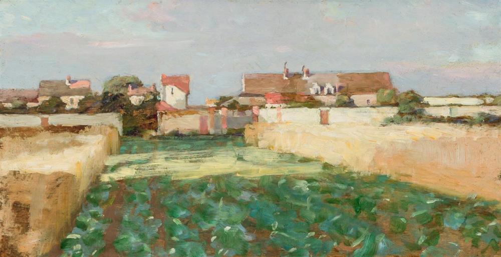 "ROBERT WILLIAM VONNOH, American (1858-1933), Landscape in Grez, France, oil on panel, signed on the reverse ""Vonnoh"", 8 3/8 x 16 inc..."