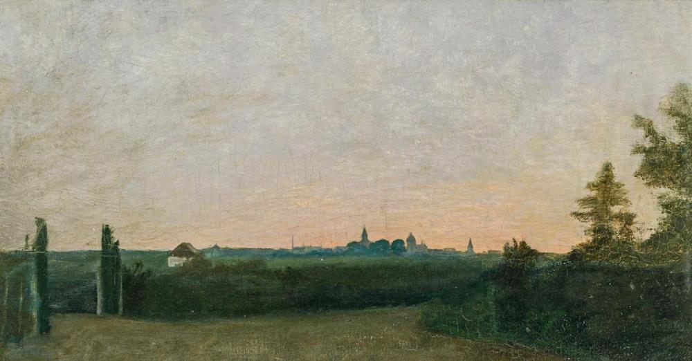 FREDERICK TRAPP FRIIS, American/Swedish (1865-1909), Landscape at Twilight With Village In Distance, oil on canvas, artist's estate...
