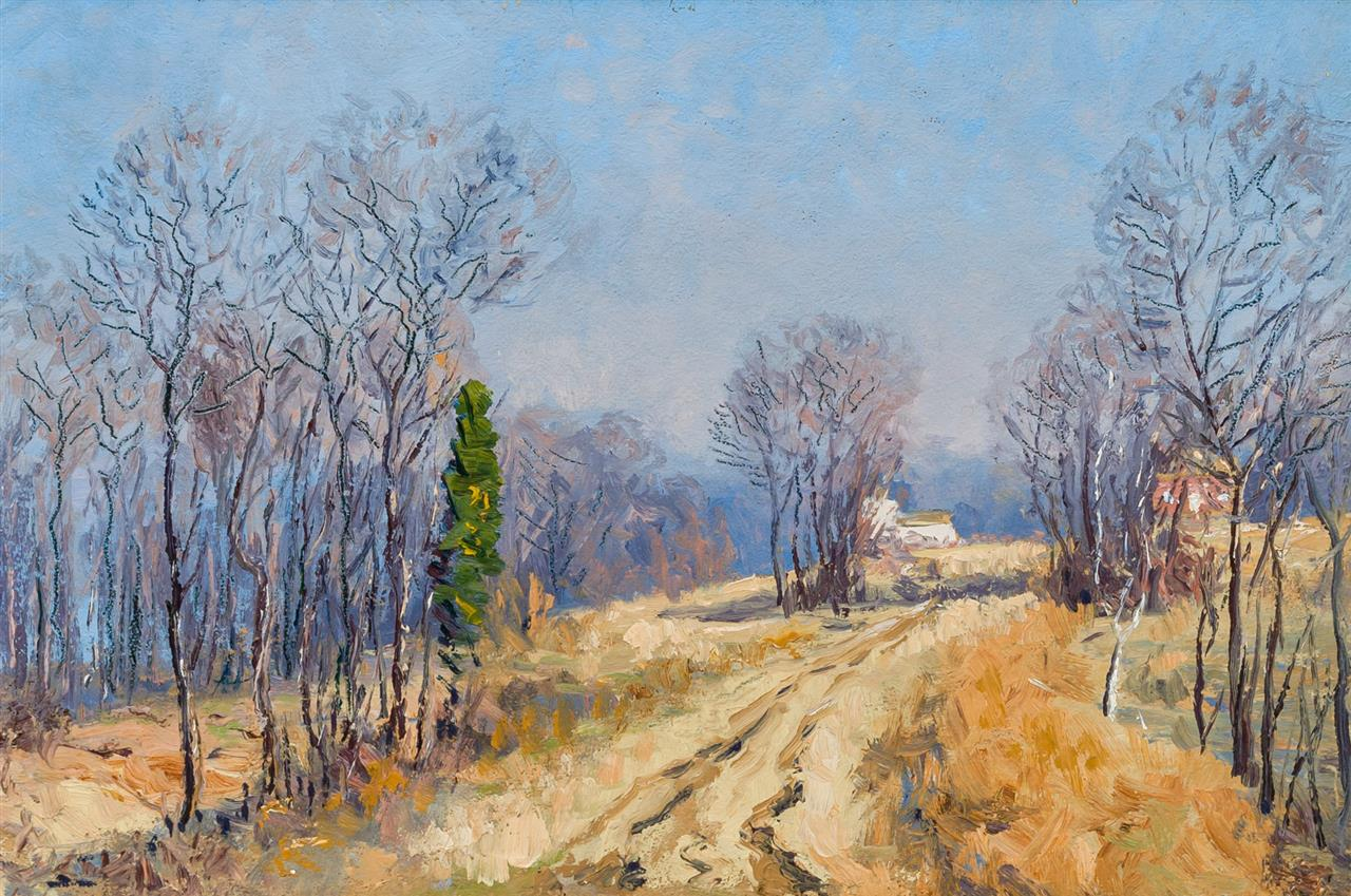 WILL HUTCHINS, American (1878-1945), Path to the Farm, oil on board, artist's estate stamp on the reverse, 12 x 18 inches