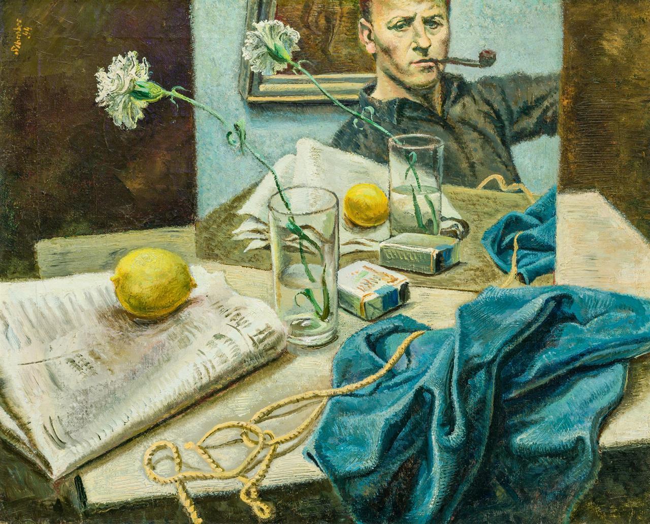 "GEORGES SCHREIBER, American/Belgian (1904-1977), Still Life with Self Portrait, oil on canvas, signed upper left ""Schreiber 44"", 19..."