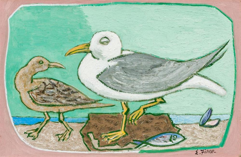 """ERNEST FIENE, American (1894-1965), """"Seagulls"""", oil on canvas, signed lower right """"E. Fiene"""", 8 x 12 inches"""