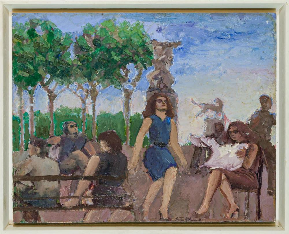 """LESTER JOHNSON, American (1919-2010), """"Parc Messina #8"""", oil on board, signed and dated lower center """"Lester Johnson 92,"""" titled and..."""