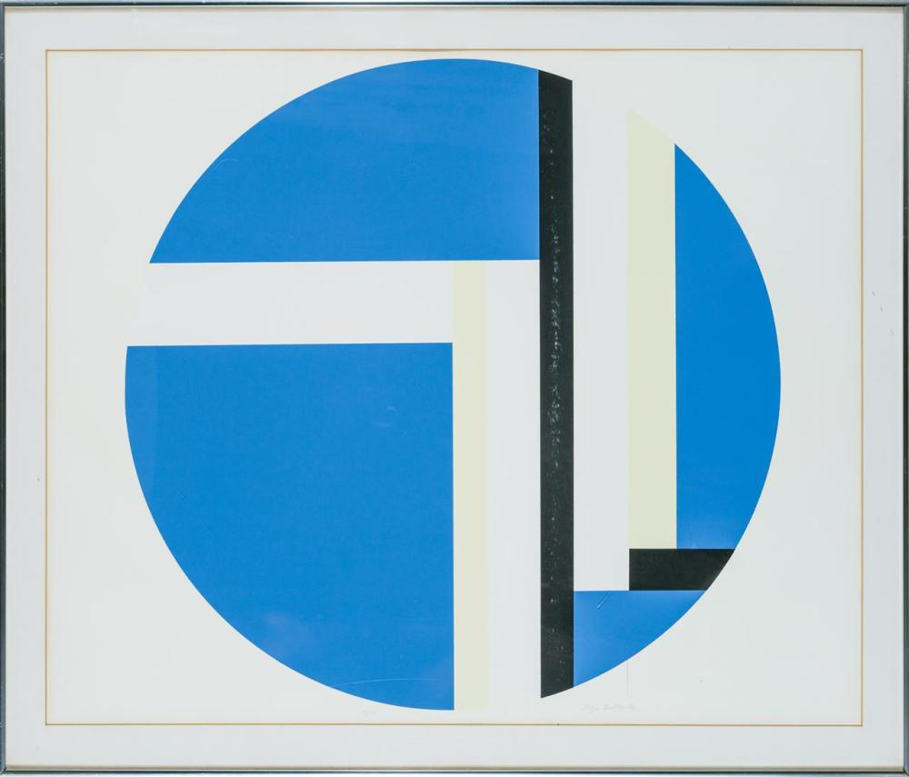 """ILYA BOLOTOWSKY, American/Russian (1907-1981), Untitled """"Moderni"""" Blue Circle with Black and Yellow (Group of Three), lithographs on..."""