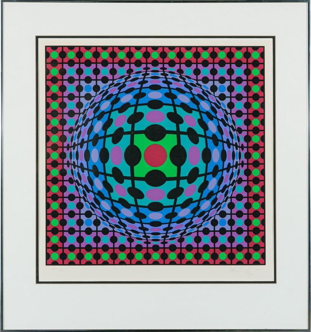 "VICTOR VASARELY, French (1906-1997), Untitled, silkscreen, numbered in pencil, lower left, ""Artist's Proof 4/25,"" signed in pencil l..."