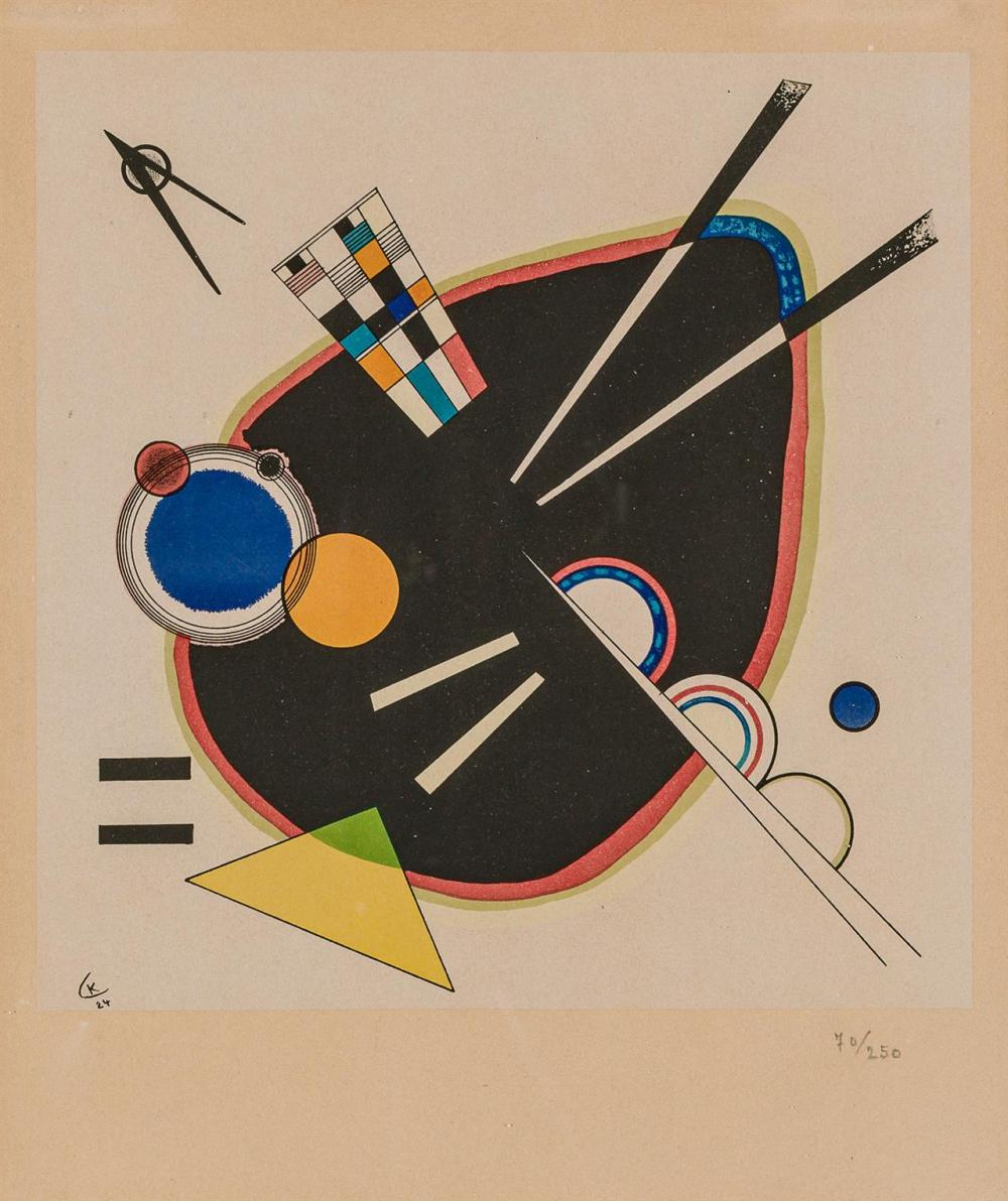 "WASSILY KANDINSKY, Russian (1866-1944), ""Komposition, La Tache Noire"", lithograph, initialed and dated in the plate ""K / 24,"" number..."
