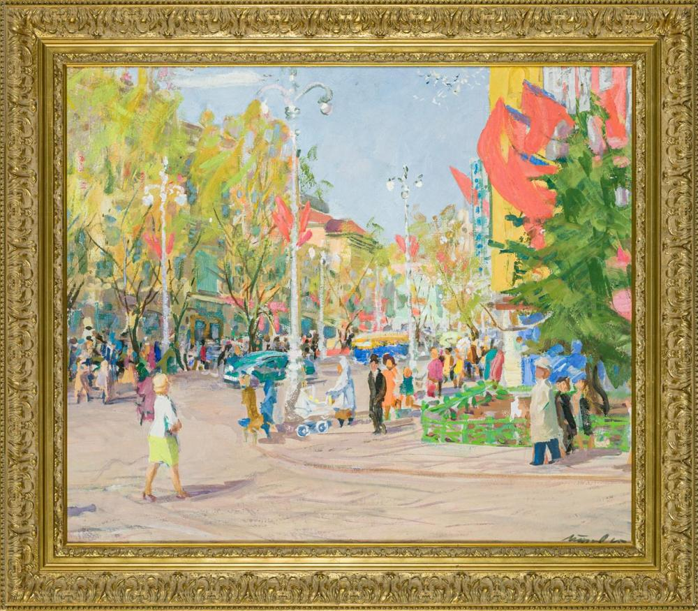 "NICOLAI ALEEXIEVICH TRUNOV, Russian (1924-2009), Revolution Avenue in Voronezh, oil on canvas, signed and dated lower right ""Trunov..."