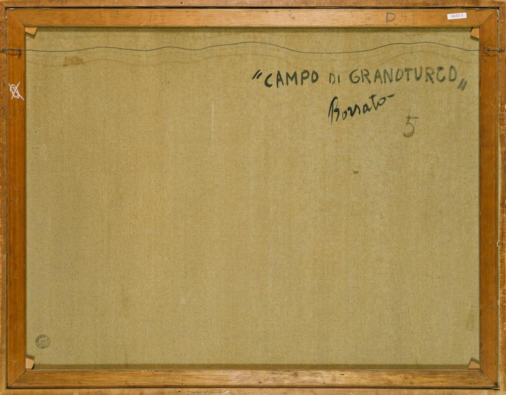 """RENATO BORSATO, Italian (b. 1927), """"Campo Di Granoturco"""", oil on canvas, signed lower right """"Borsato,"""" signed and titled on the reve..."""