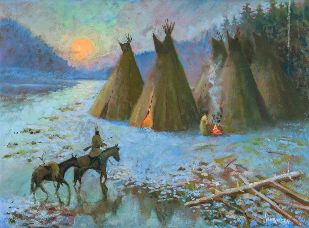 "WILLIAM HARNDEN, American (1920-1983), ""Coming Home at Sunset"", oil on board, signed lower right ""Harnden"", 18 x 24 inches"