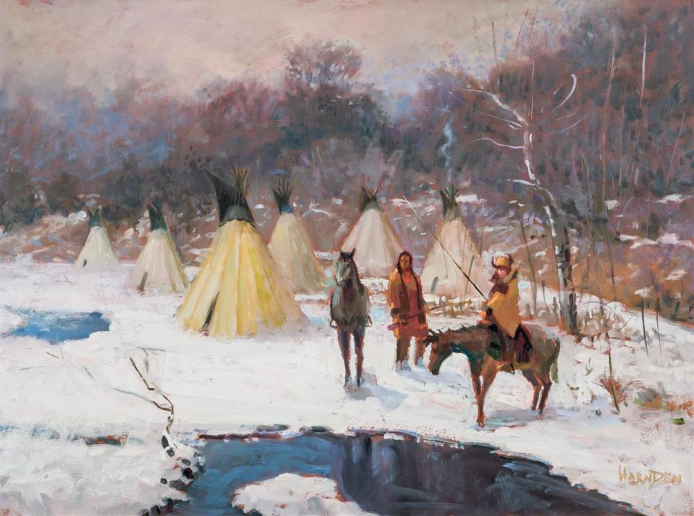 """WILLIAM HARNDEN, American (1920-1983), Native American Encampment, oil on board, signed lower right """"Harnden"""", 18 x 24 inches"""