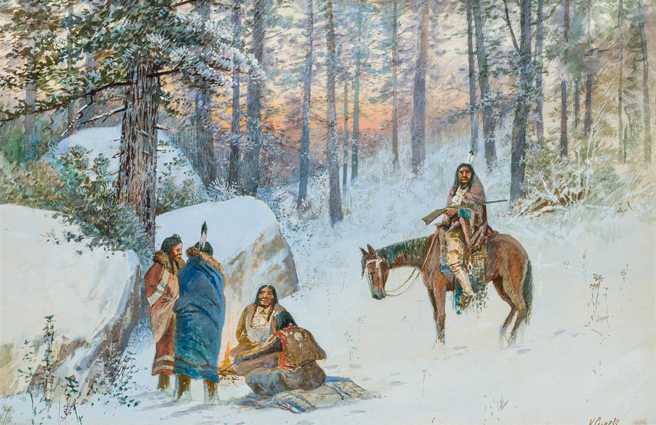 VICTOR CASENELLI, American (1867-1962), Native Americans around a Winter Campfire, watercolor and gouache on board, signed lower rig...