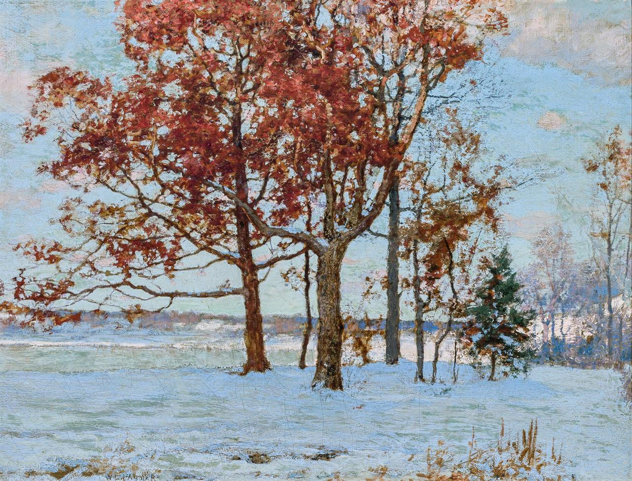 "WALTER LAUNT PALMER, American (1854-1932), Trees in Winter, oil on canvas, signed lower left ""W. L. Palmer"", 14 x 18 inches"