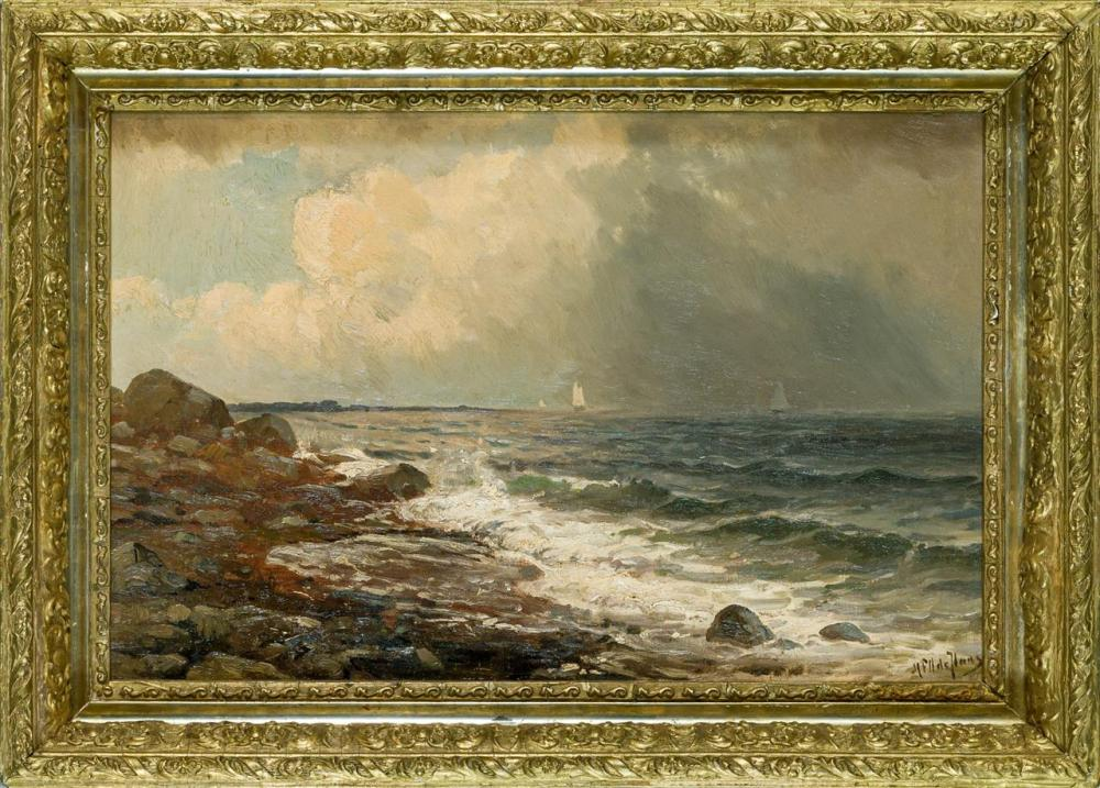 MAURITZ FREDERIK HENDRICK DE HAAS, Dutch / American (1832-1895), Seascape (Morning at Long Beach), oil on canvas, signed lower right...